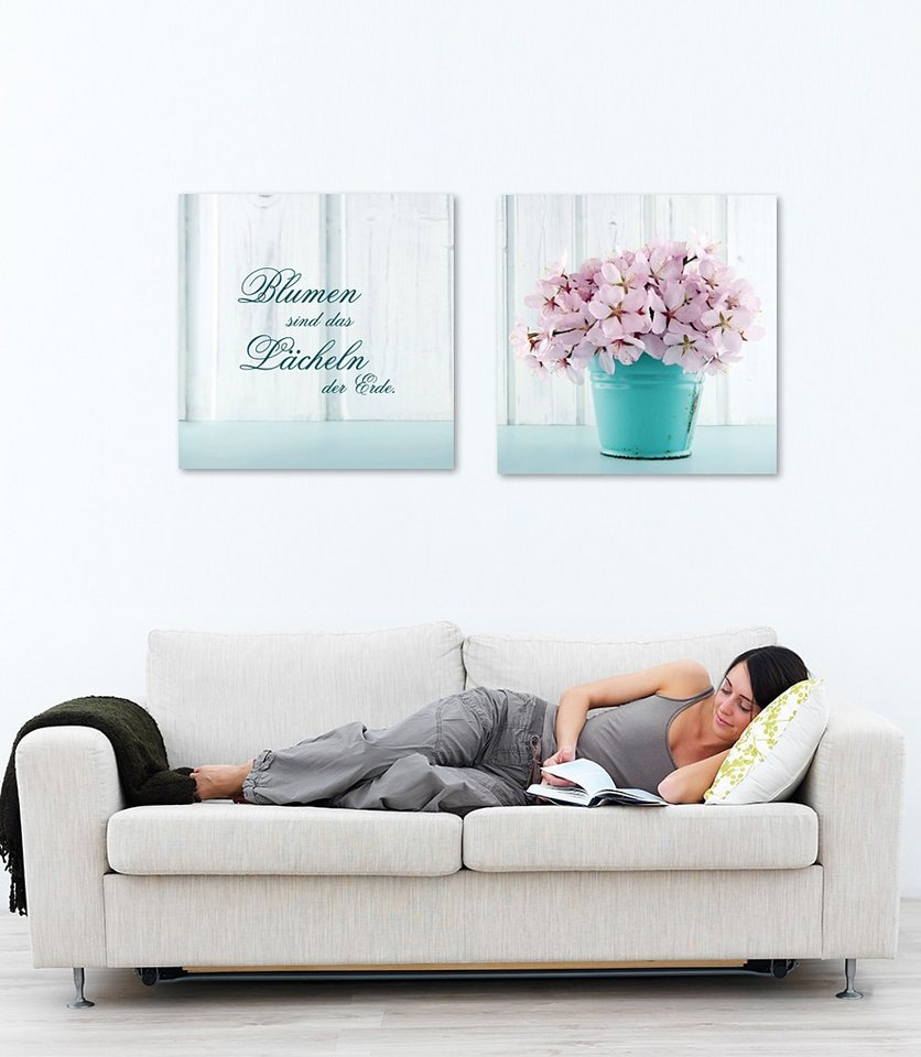 Acrylglasbild, Home affaire, Maße (B/H): 2x 30/30 cm in rosa/blau