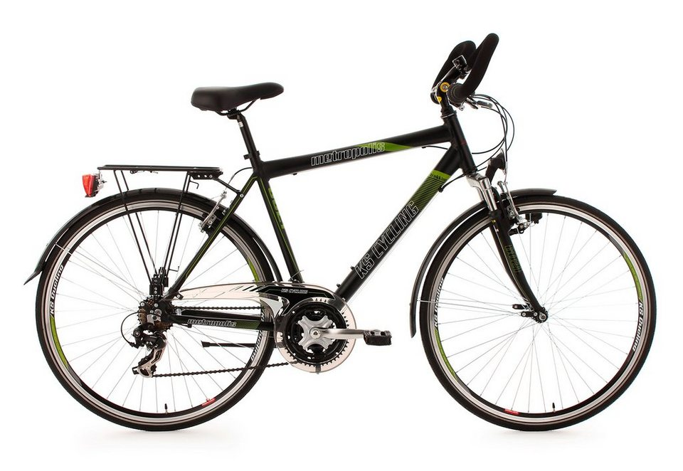 Herren-Trekkingrad, 28 Zoll, 21 Gang Kettenschaltung, schwarz, »Metropolis«, KS Cycling in schwarz