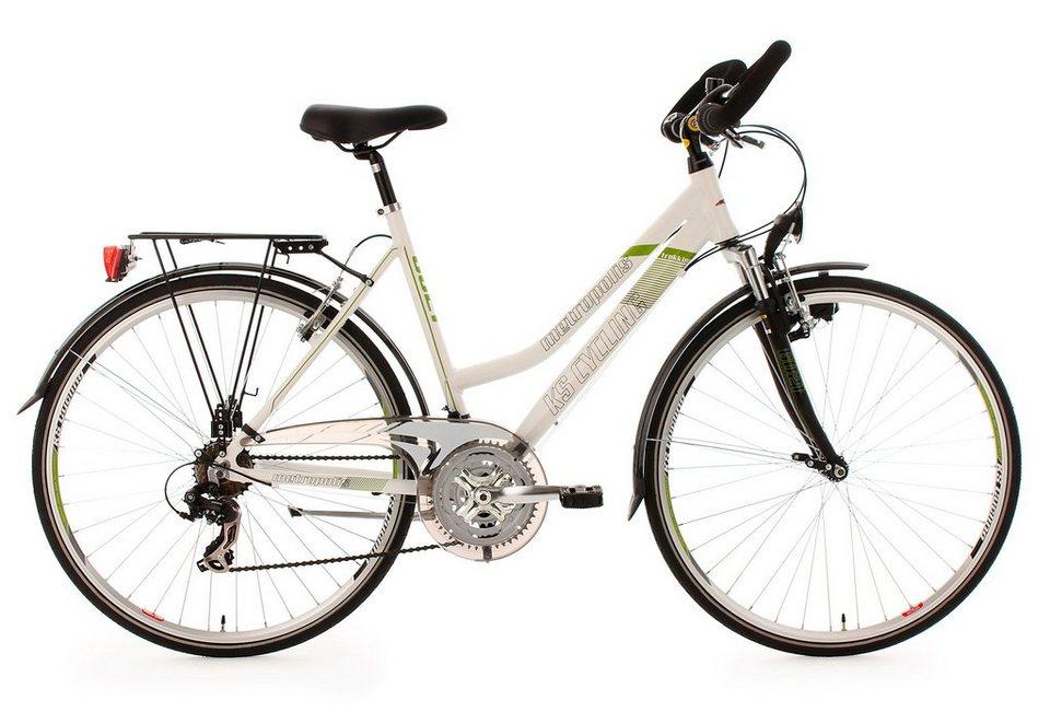 Damen-Trekkingrad, 28 Zoll, 21 Gang Kettenschaltung, weiß, »Metropolis«, KS Cycling in weiß