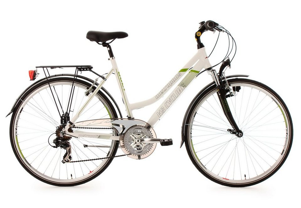 Damen-Trekkingrad, 28 Zoll, weiß, 21 Gang Kettenschaltung, »Metropolis«, KS Cycling in weiß