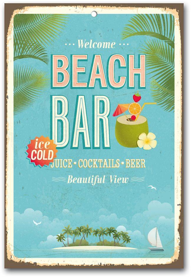 Home affaire Stahlschild »Beach Bar«, Maße (B/H): ca. 30/45 cm