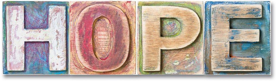 Schriftzug, Home affaire, »Hope«, Maße (B/H): ca. 60/17 cm in bunt