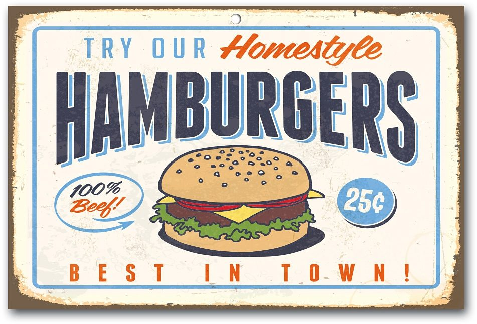 Home affaire Stahlschild »Hamburgers«, Maße (B/H): ca. 45/30 cm