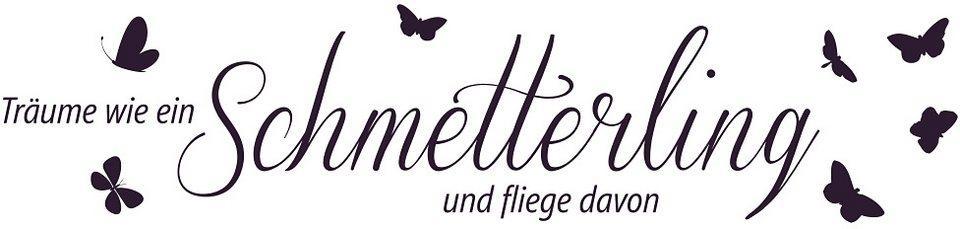 Wandtattoo, Home affaire, »Träume wie ein Schmetterling...«, Maße (B/H): ca. 120/30 cm in aubergine