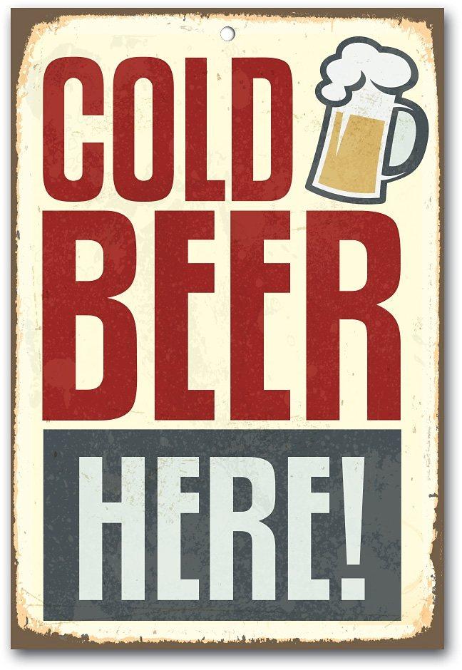 Stahlschild, Home affaire, »Cold beer here«, Maße (B/H): ca. 30/45 cm in braun/blau