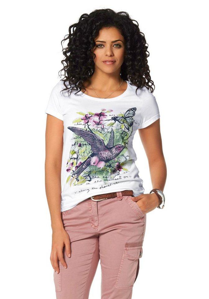 Boysen's T-Shirt mit buntem Frontdruck in weiß-bedruckt