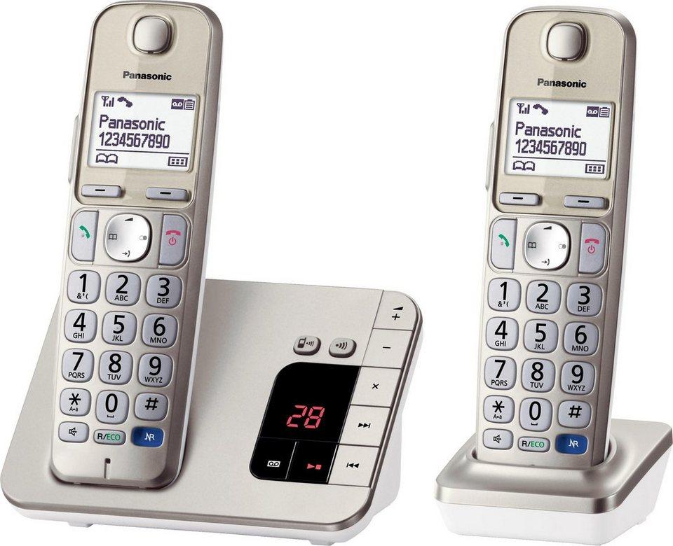 Panasonic KX-TGE222GN DUO Schnurloses DECT Telefon-Set mit AB in champagner