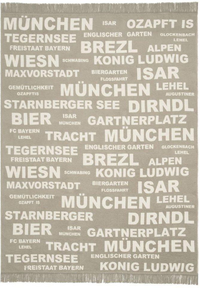 Wohndecke, Pad, »München«, mit Schriftzügen in beige