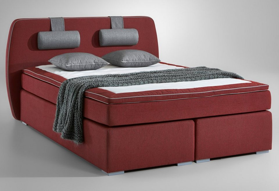 Boxspringbett, Atlantic Home Collection in rot/grau