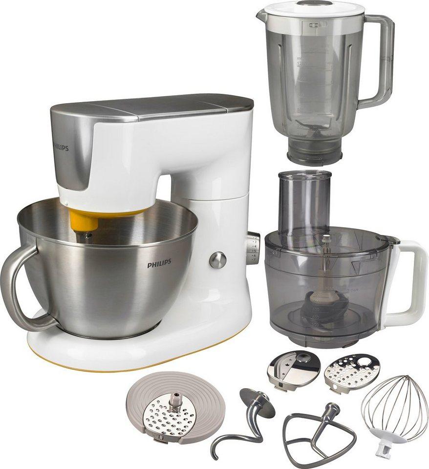Philips Küchenmaschine HR7954/00 Avance 4-in-1 (900 Watt, kompakt, 10tlg. Zubehör) in Weiß mit Edelstahl/mango-gelber Akzent