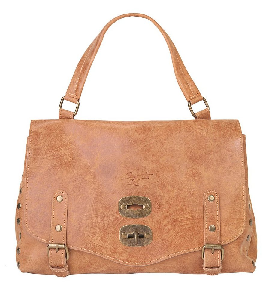 Samantha Look Leder Damen Handtasche in cognac