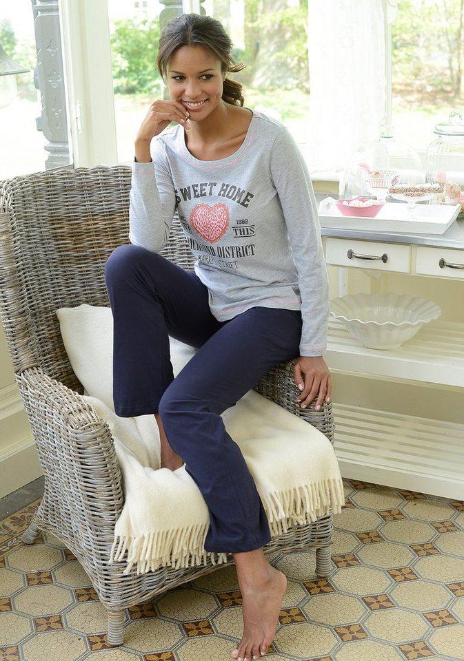 KangaROOS Pyjama in sportivem Design mit Frontprint in grau meliert-blau