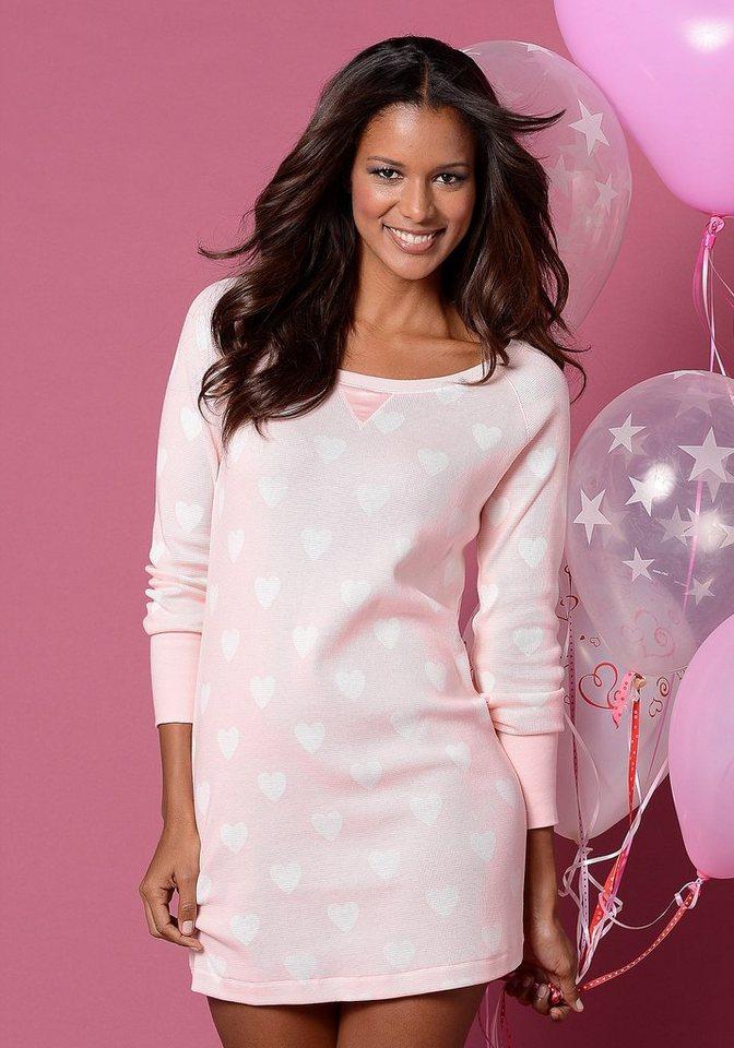 Vivance Dreams Nachthemd mit breiten Ärmelbündchen & Alloverprint in rosa mit Herzen
