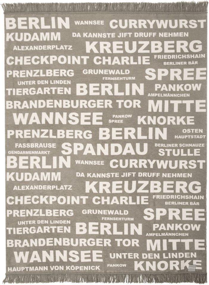 Wohndecke, Pad, »Berlin«, mit Schriftzügen in hellgrau
