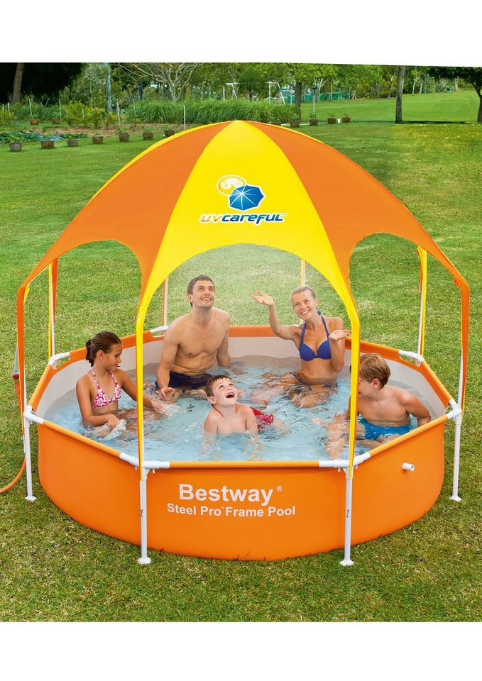 Kinderpool, 244x51 cm, »Splash in Shade«, Bestway in orange