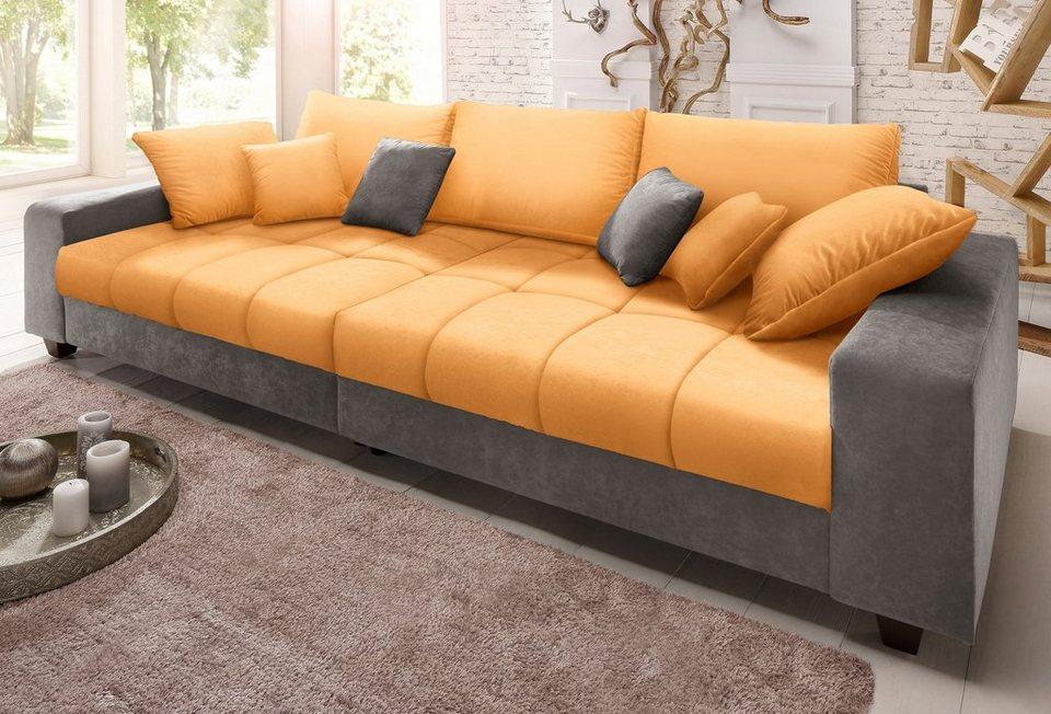 Home affaire Big-Sofa »Greenwich« in anthrazit/mango