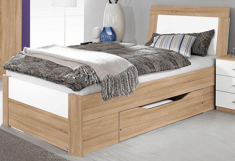 rauch Bett in struktureichefarben hell/weiß Hochglanz