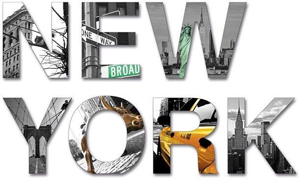 Kunststoffbuchstaben, Home affaire, »3D New York«, (7-tlg.) in grau/gelb