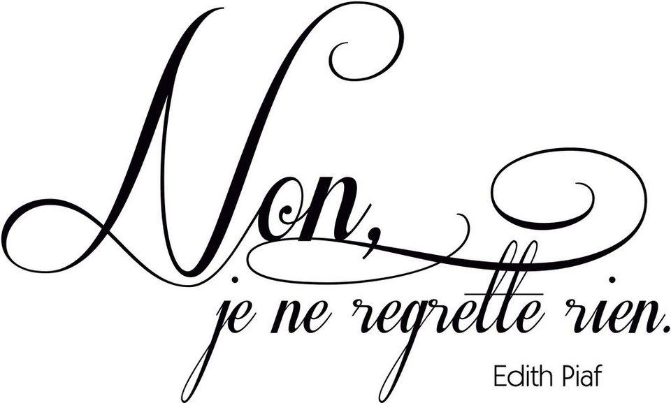 Wandtattoo, Home affaire, »Non, je ne regrette rien«, in 2 Größen in schwarz