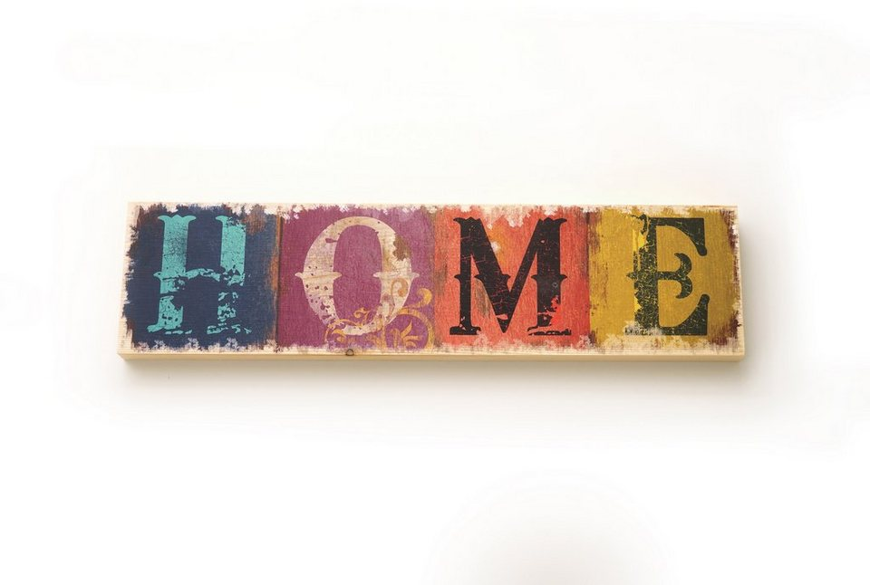 Holzbild, Home affaire, »Home«, 40x10 cm in bunt