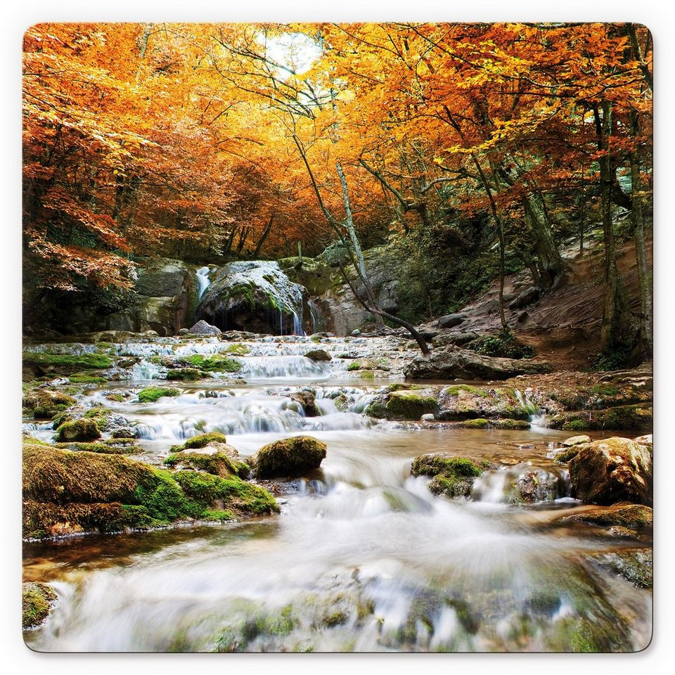 Glasbild, Home affaire, »Autumn Waterfall«, in 2 Größen in orange/grün