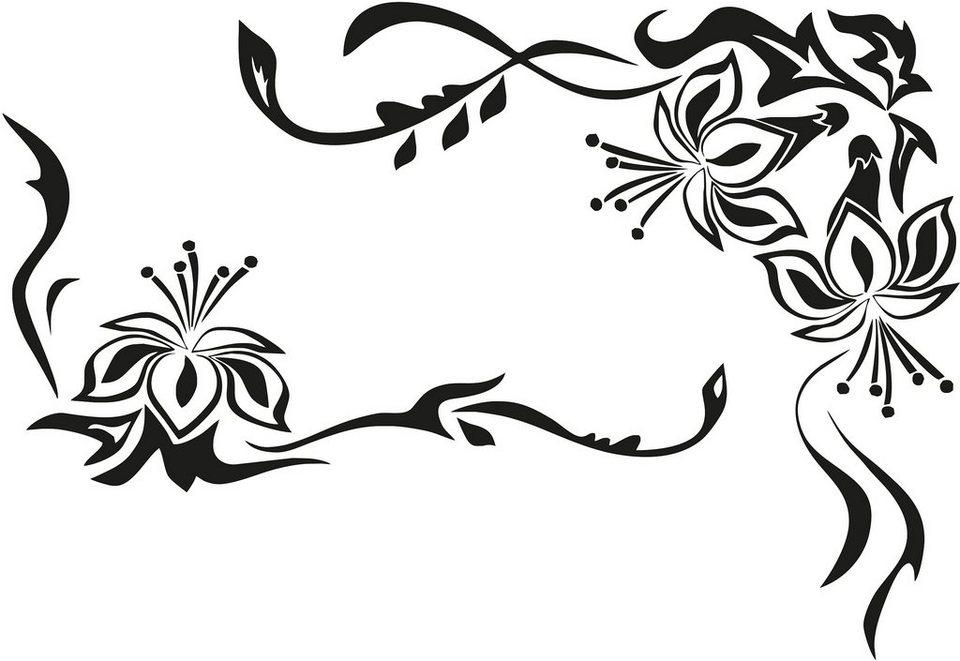 Wandtattoo, Home affaire, »Blütenornament«, in 2 Größen in schwarz