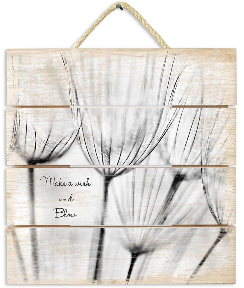 Holzbild, Home affaire, »Make a wish«, 40x41,5 cm in natur/beige