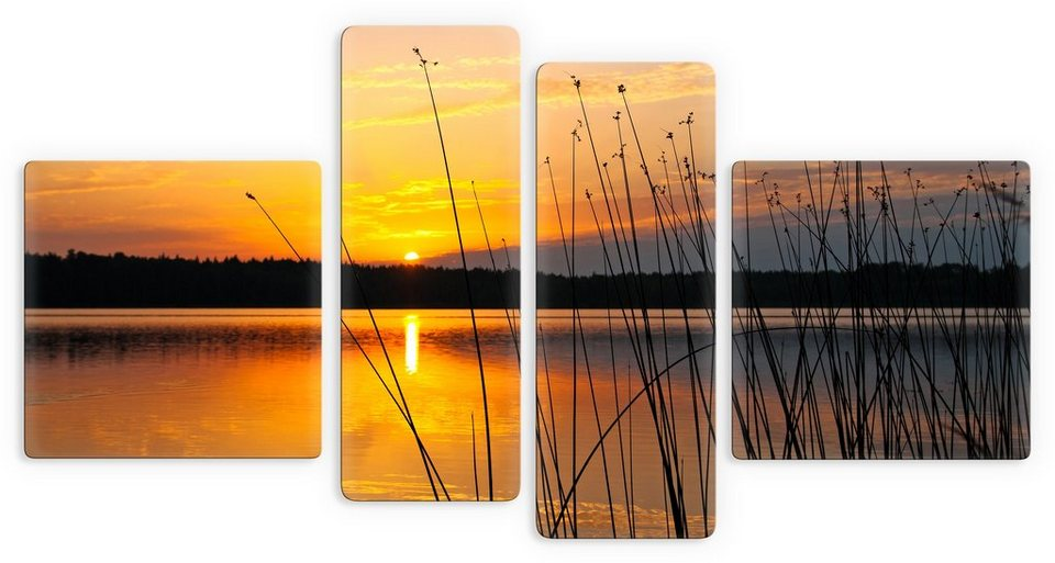 Premium Collection by Home affaire Glasbild, »Sonnenuntergang am See«, (4-tlg.) in orange/schwarz