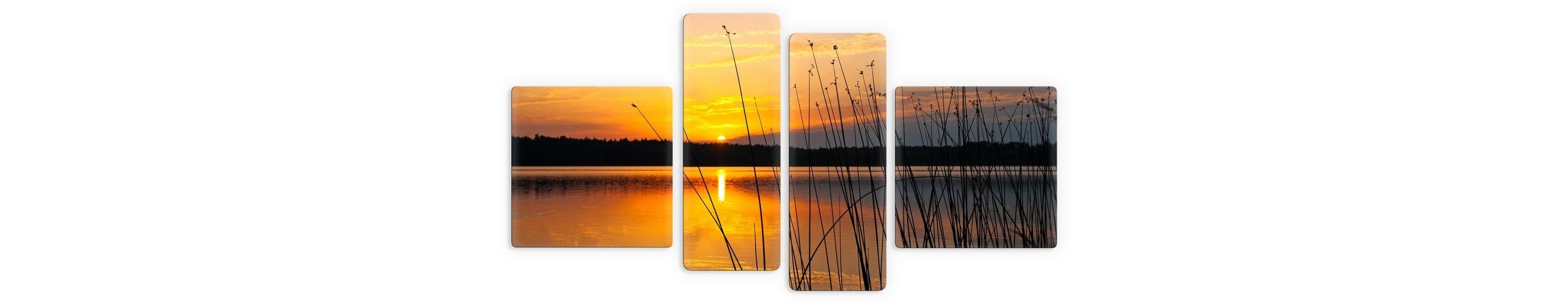 Premium Collection by Home affaire Glasbild, »Sonnenuntergang am See«, (4-tlg.)