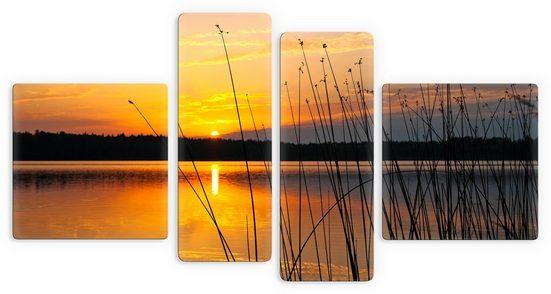 Wall-Art Glasbild »Sonnenuntergang am See«, 4-tlg.