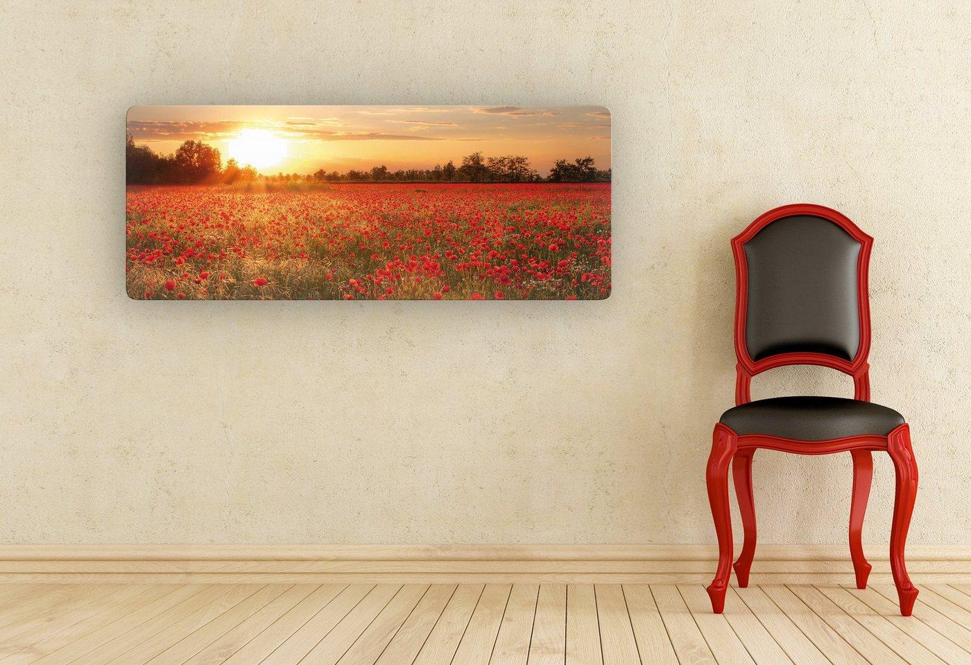 Home affaire, Glasbild, »Mohnfeld im Sonnenuntergang Panorama«, 100/40 cm