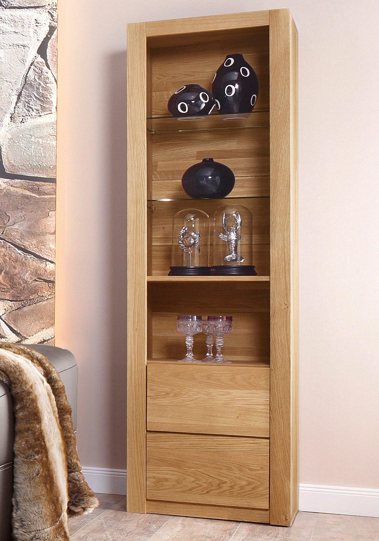 Vitrine, Premium collection by Home affaire, »Kreta«, Höhe 206 cm, vollmassiv aus Eiche