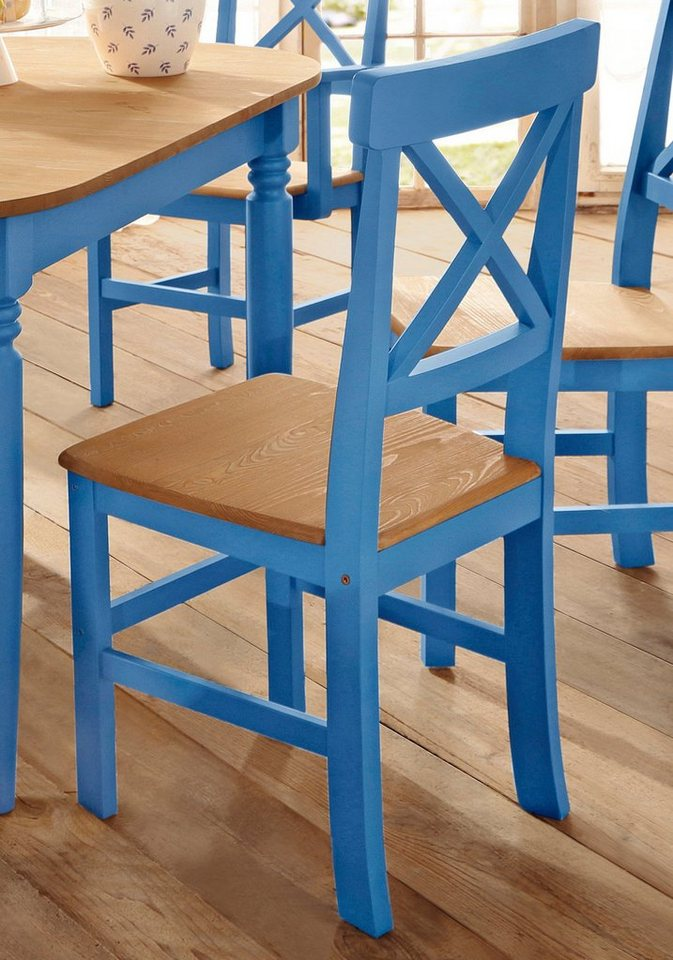 Home Affaire Stuhl »Nico« (2 Stück) in blau/gelaugt