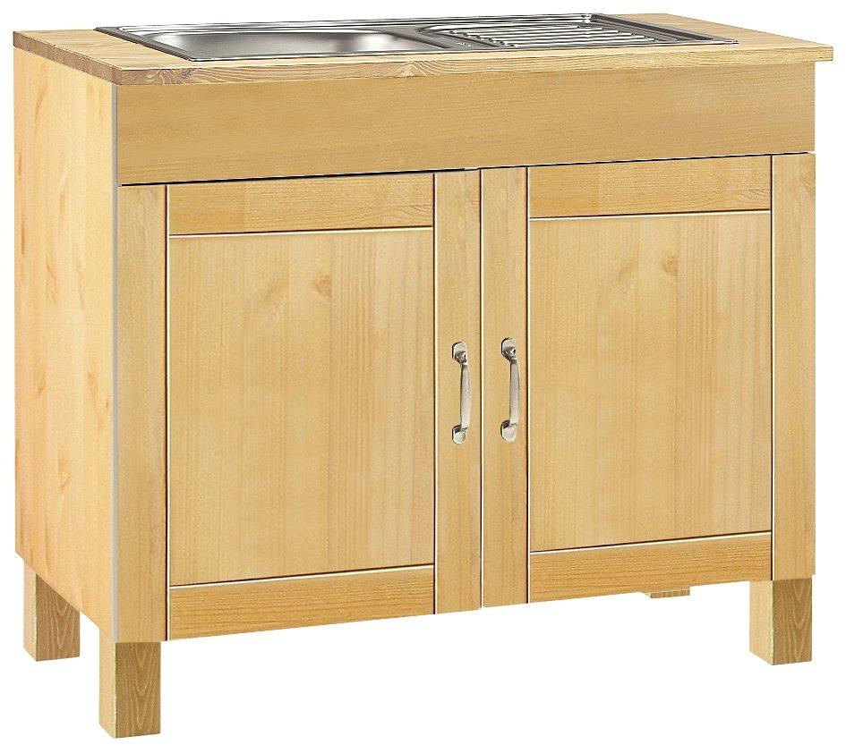 Spülenschrank »Alby« | Küche und Esszimmer > Küchenschränke > Spülenschränke | Glanz | Edelstahl - Kiefer