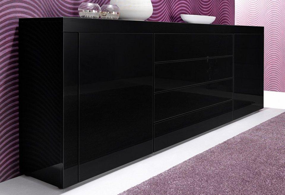 Sideboard, Breite 166 cm in schwarz