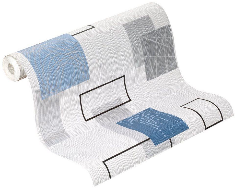 Papiertapete, Rasch, »delight« in weiß, blau, silber
