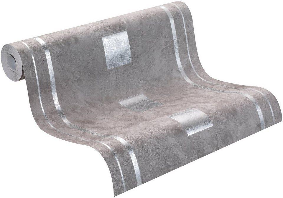 Vliestapete, Rasch, »Glanz« in grau, silber