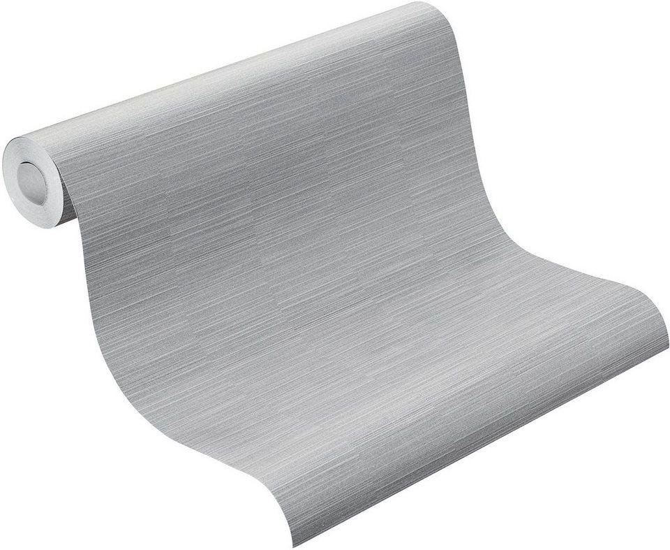 Vliestapete, Rasch, »plain« in grau, silber