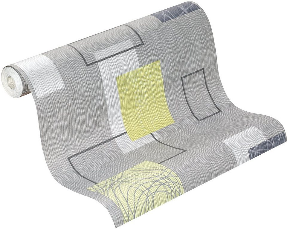 Papiertapete, Rasch, »delight« in grau, silber, grün