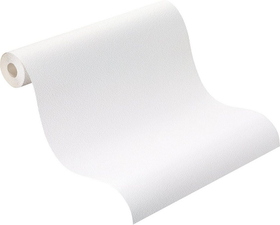 Schaumtapete , Rasch, »Uni Klecks« in weiß