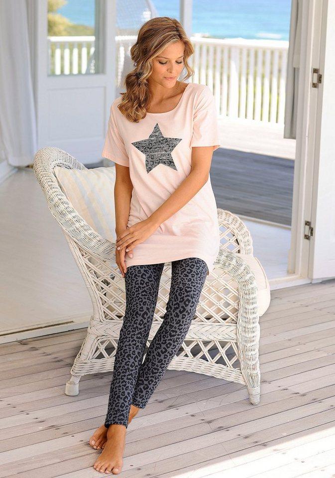 Buffalo Pyjama mit Leoleggings & Longshirt mit Sternprint in apricot-anthrazit leo