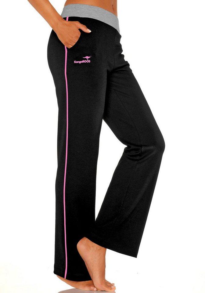 KangaROOS Relaxhose mit breitem Bund & Neonstreifen in schwarz mit pink