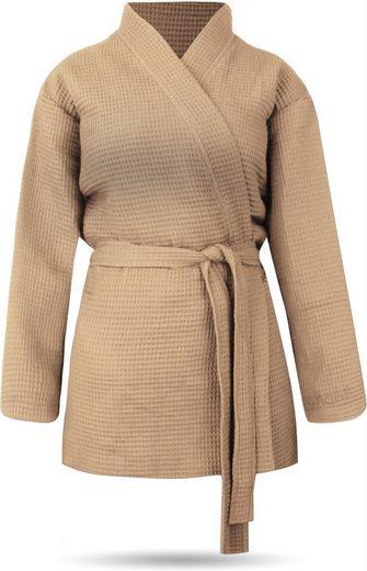 Damenbademantel »Damen Morgenmantel mit Waffel-Piqué Mali«, normani, kurzer Bademantel aus weicher Baumwolle