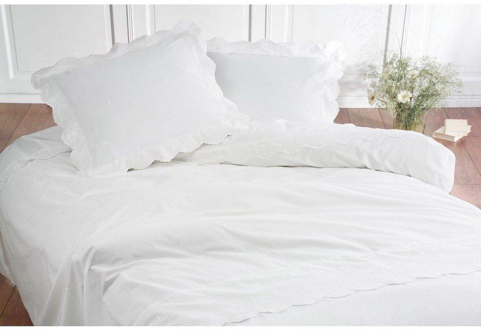 Bettwäsche, Damai , »Savoy«, mit Spitze in weiß