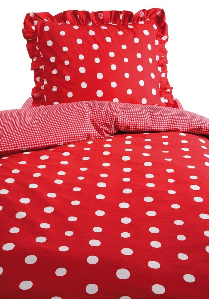 Wendebettwäsche, Damai, »Dotty«, mit Punkten in rot