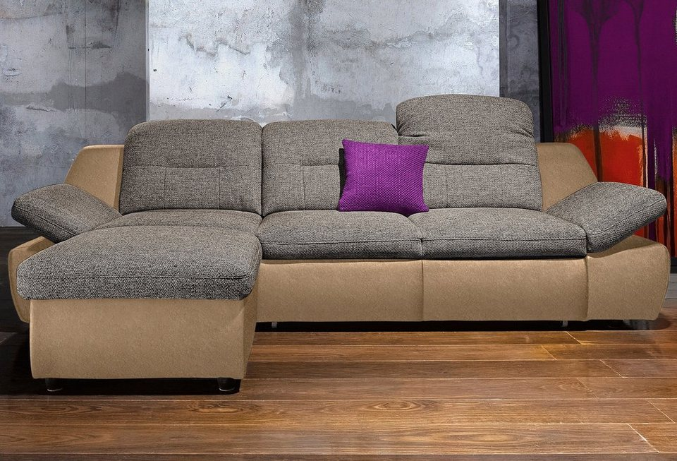 Polsterecke, City Sofa, wahlweise mit Bettfunktion in cappuccino
