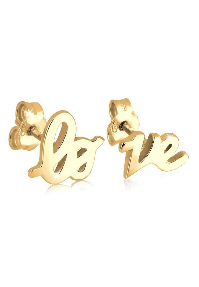 GOLDHIMMEL Ohrringe »Love Statement Schriftzug Liebe Filigran vergoldet« in Gold