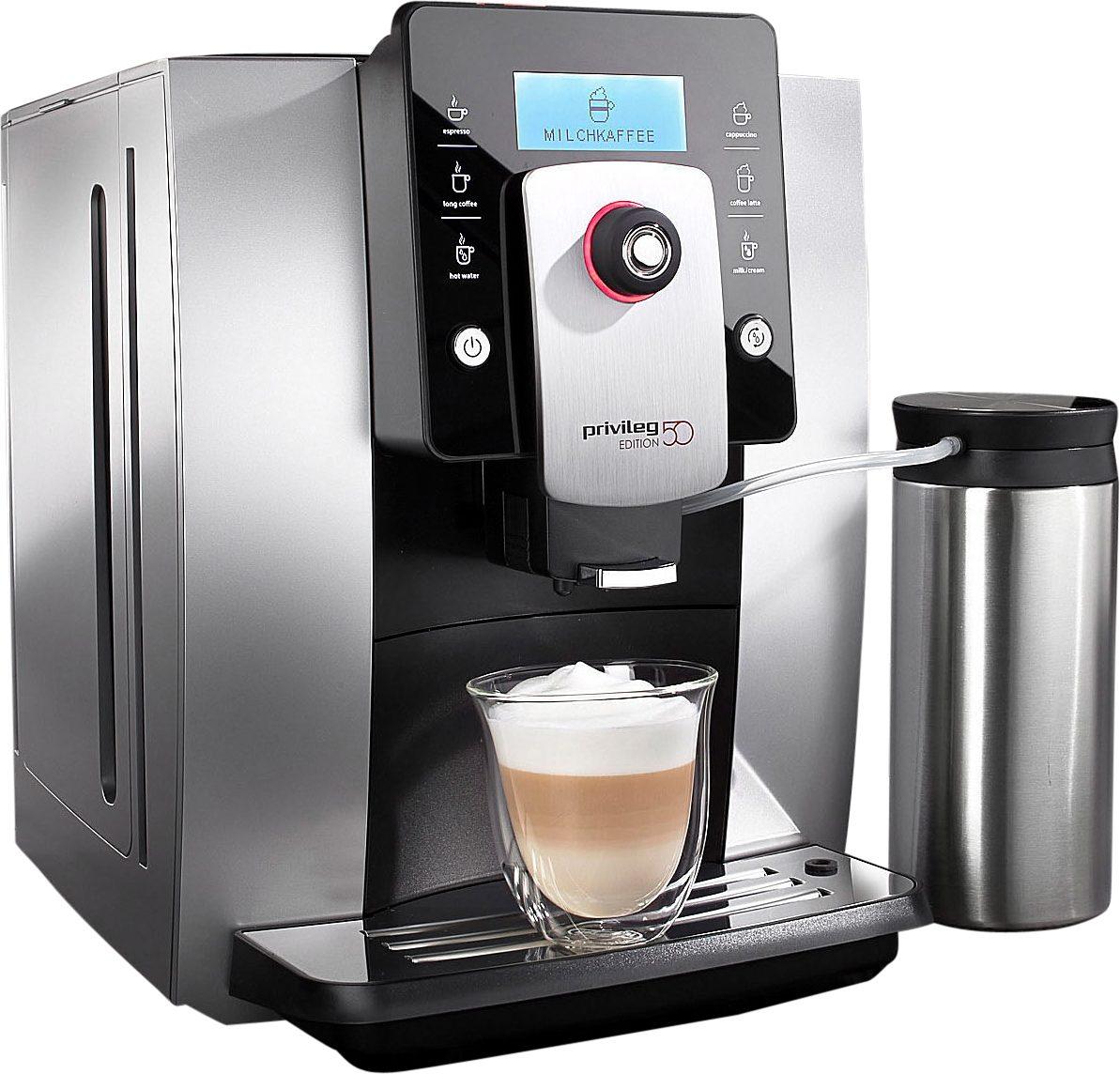 Privileg Kaffeevollautomat Edition 50, Kegelmahlwerk, inkl. Edelstahl-Milchbehälter