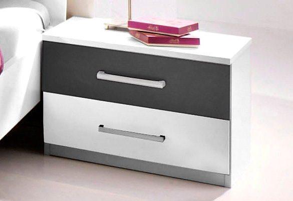 rauch Nachttisch in struktureichefarben hell/weiß