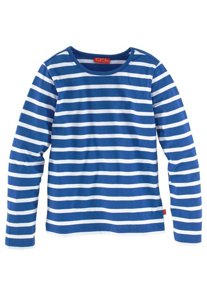 CFL Langarmshirt leicht tailliert in royalblau-weiß